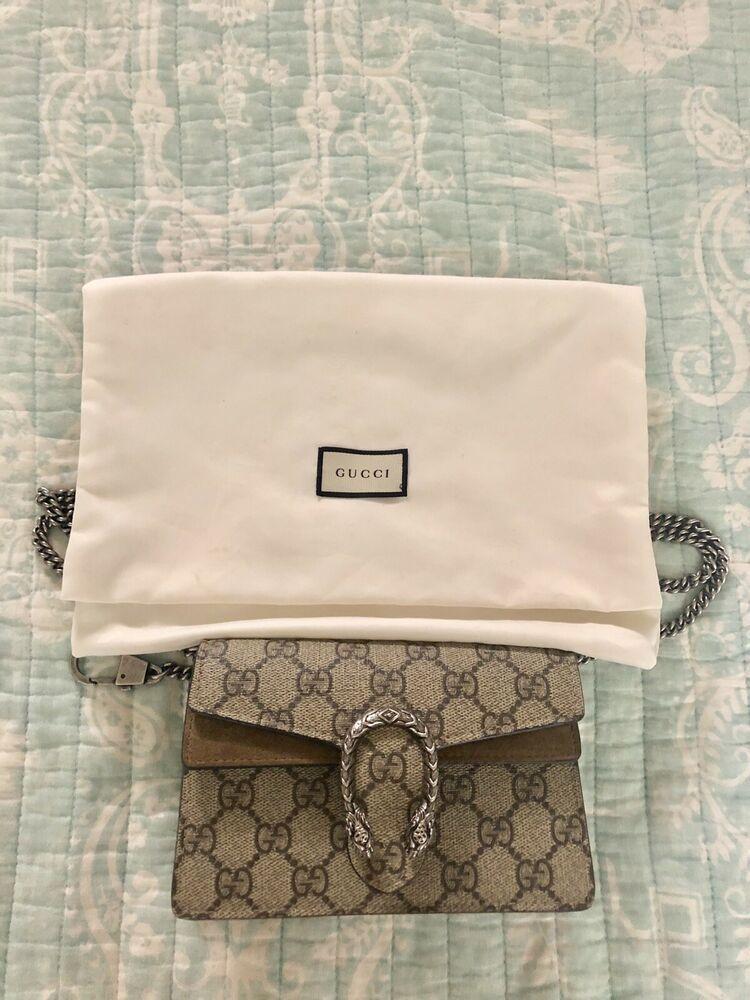 df5e8cc7d Gucci Dionysus GG Supreme Mini Chain Shoulder Bag - Taupe - AUTHENTIC