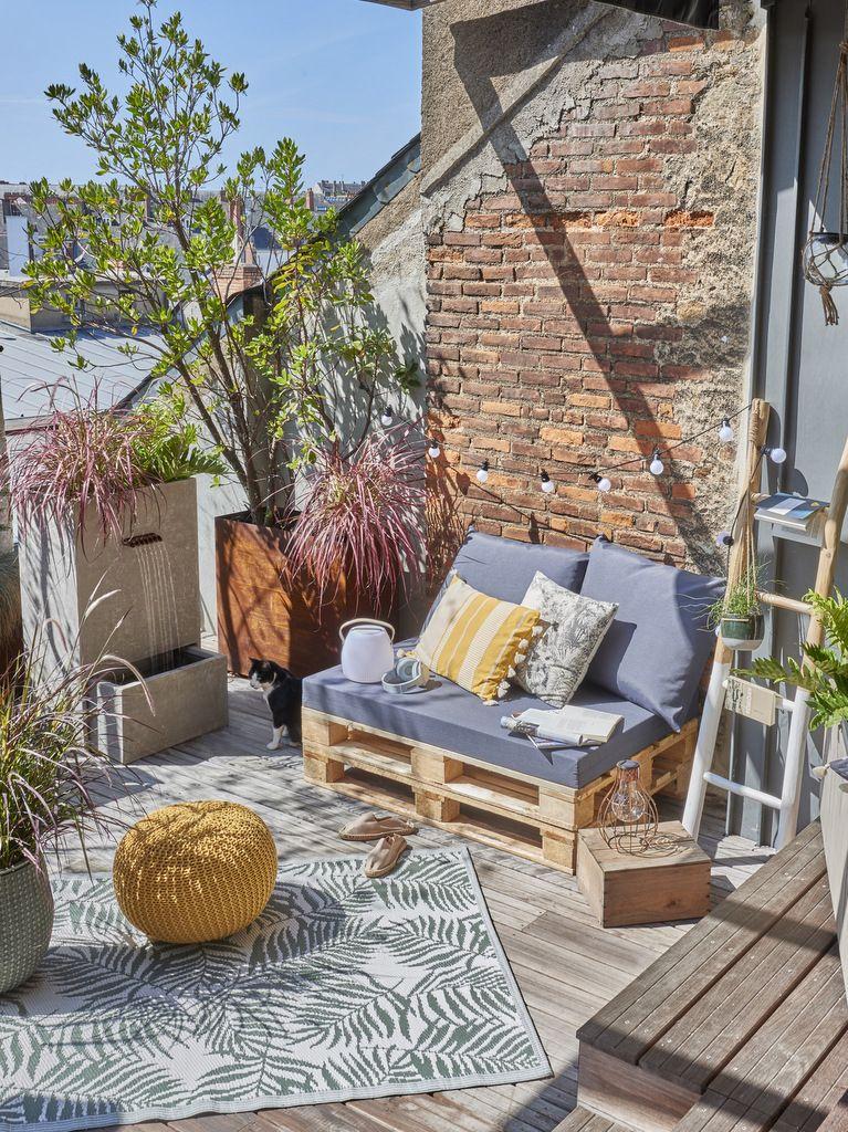 Un coin repos sur une terrasse déco bohème | Pièces à vivre ...