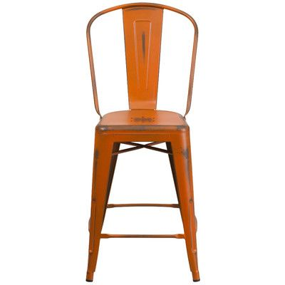 "Trent Austin Design Dovercliff 24.25"" Bar Stool Finish: Distressed Orange"