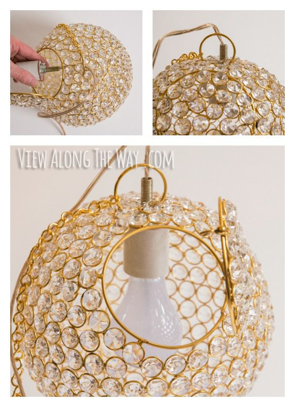 Diy crystal ball chandelier view along the way crafts how to make a crystal chandelier mozeypictures