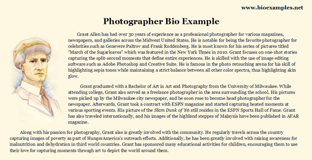 Photographer biography sample bio examples pinterest 6 of the best professional bio examples weve ever seen college graduate sample resume examples of a good essay introduction dental hygiene cover letter altavistaventures Images