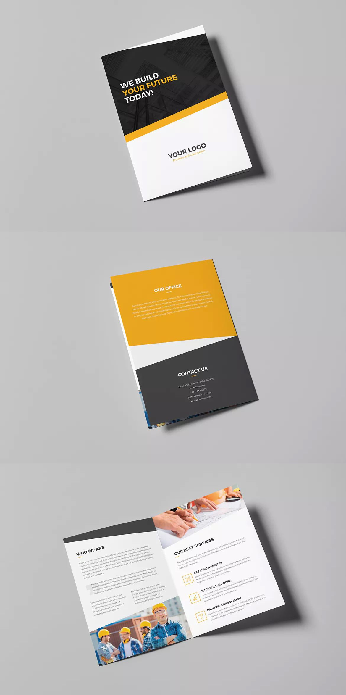 Architecture And Construction Bi Fold Brochure Template Psd A4 And
