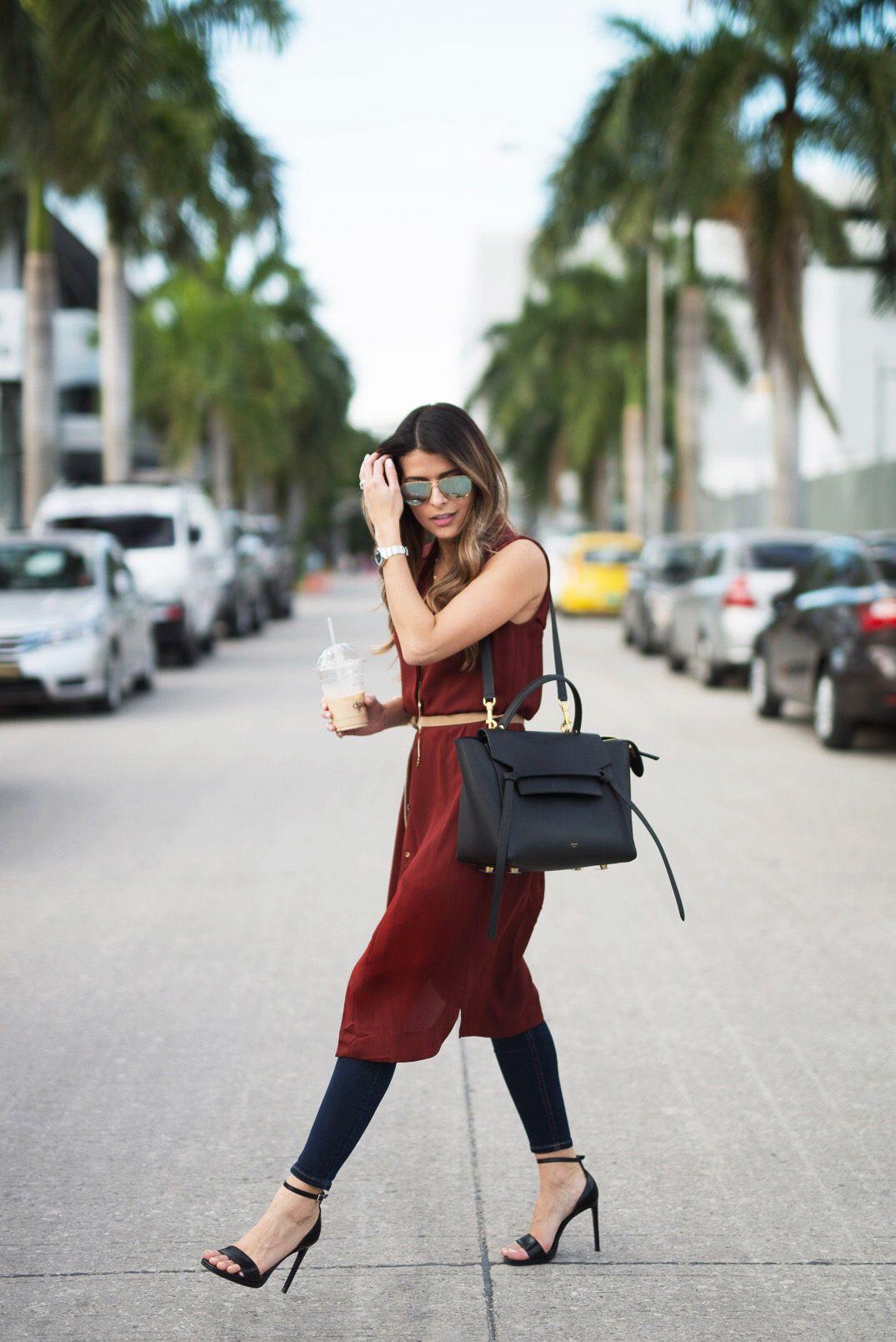 1bf44ca05f7 Pam Hetlinger, The Girl From Panama wearing a Mango Shirt Dress, Topshop  Jeans, Celine Belt Bag, and Saint Laurent Jane Sandals.