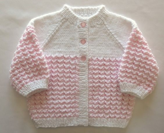 Pink Baby Sweater Set Girl Hand Knit by SticksNStonesGifts ...