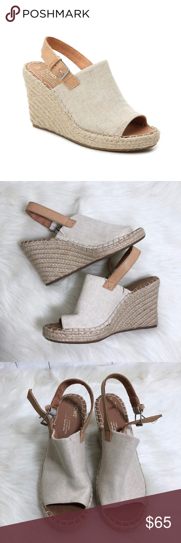 ebb06c54918 Toms Monica Espadrille Platform Wedge Sandal Toms Monica Espadrille  Platform Wedge Sandal Gently used. Excellent condition! Off white  tan  color.