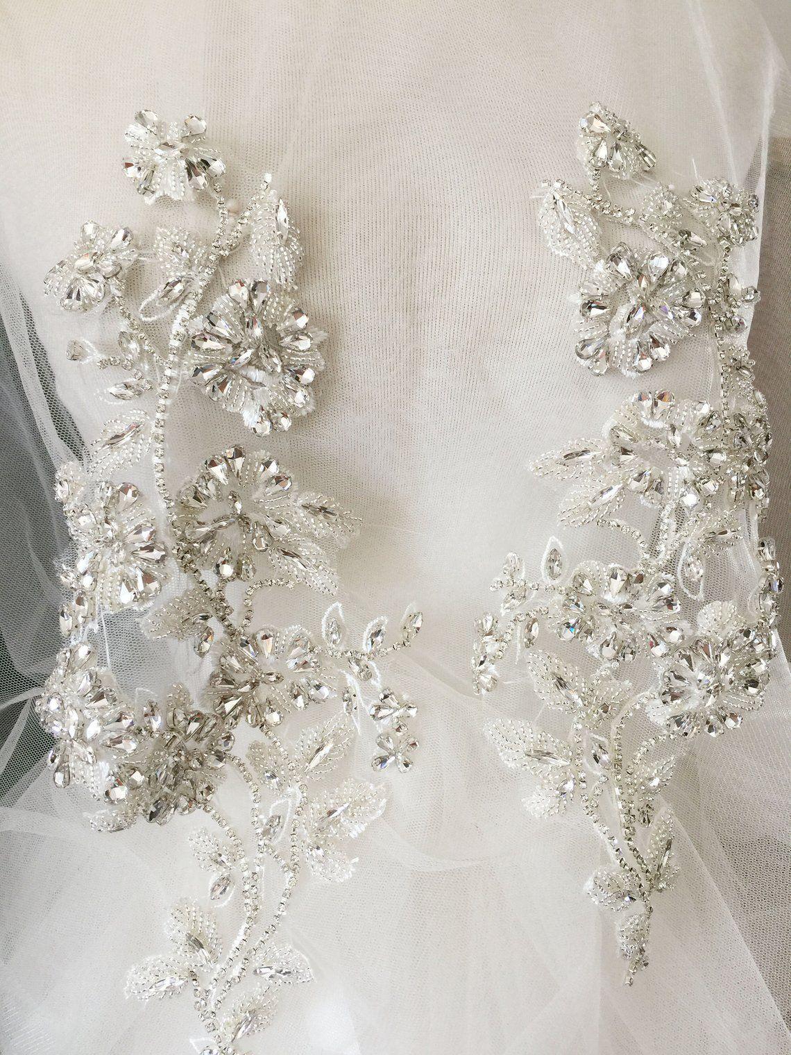 Luxury Rhinestone Crystal Beaded Lace Applique Pair Wedding Gown