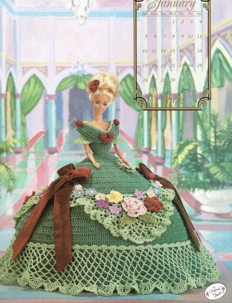 January 1992 Calendar Bed Doll Crochet Pattern Leaflet Annies Barbie ...