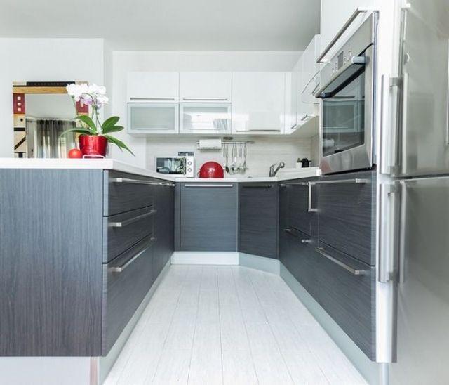 Moderne küchen u-form grau  kleine küche küchenzile u-form holzfurnier grau | Küche U-Form ...