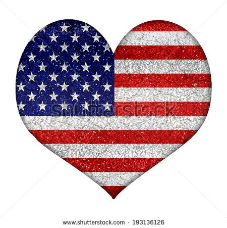 #Usa #grunge style heart shape #flag in vibrant colors. - stock photo