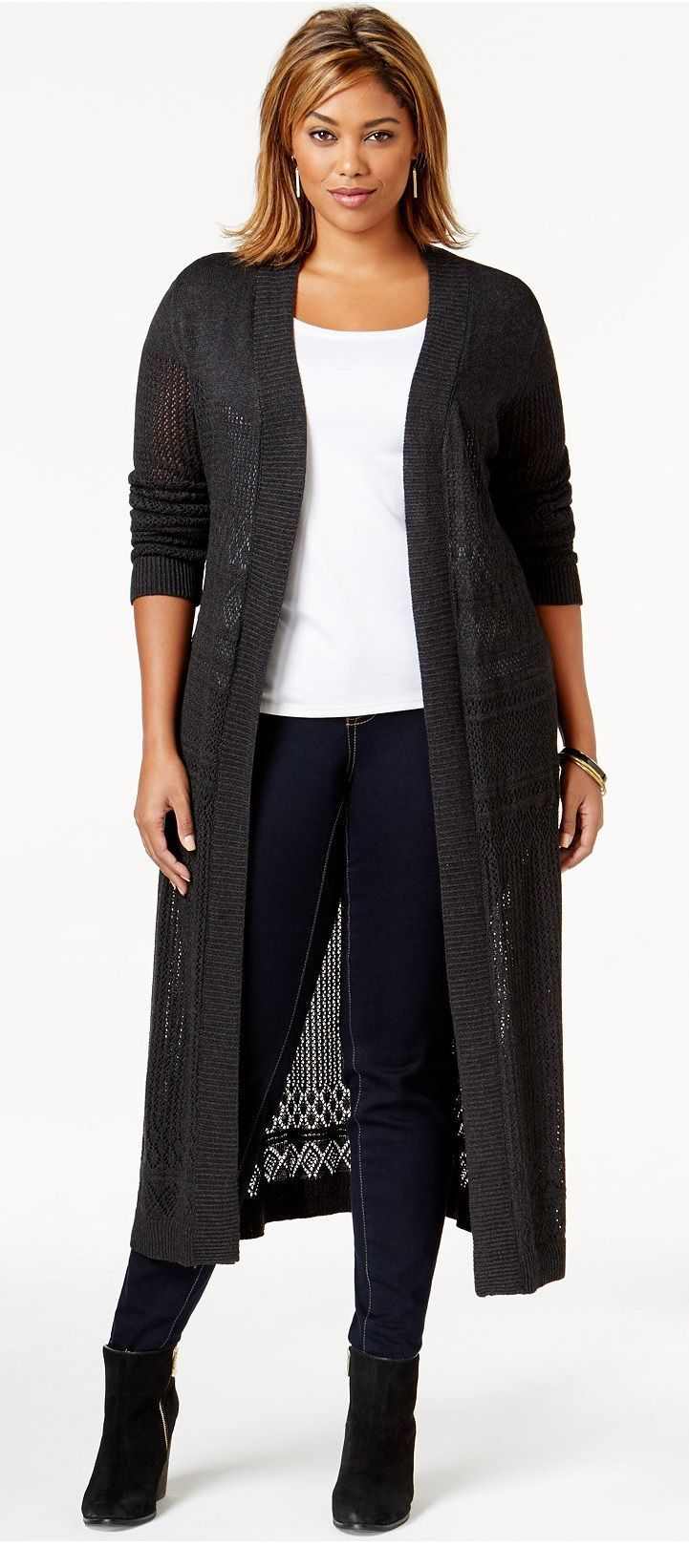 45b81069ab3 Plus Size Pointelle-Stitch Duster Cardigan