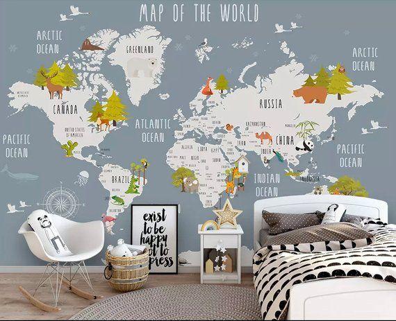 Kids World Map Wallpaper Nursery Animal Map Wall Murals Boys Bedroom ...
