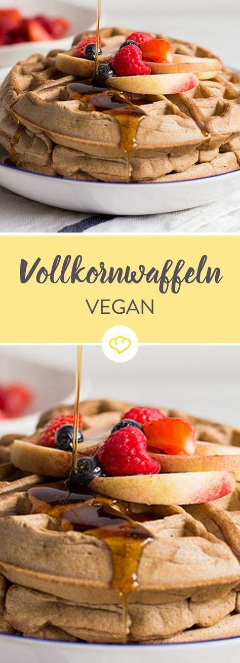 Volles Korn, voller Geschmack. Und dabei vegan! Vegane Vollkornwaffeln #fastrecipes