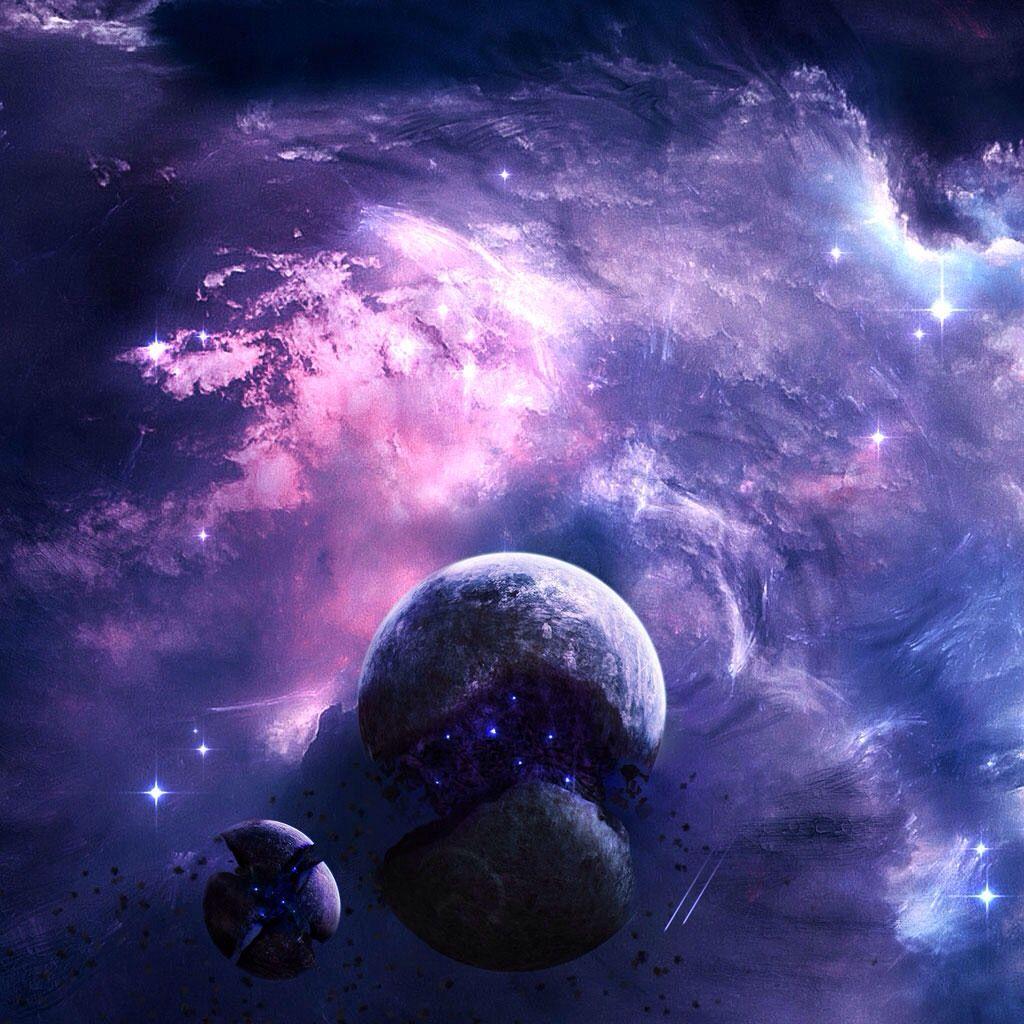Purple Moon Space Art Wallpaper 2048x1152 Wallpapers Wallpaper Space
