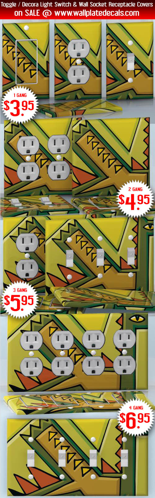 DIY Do It Yourself Home Decor - Easy to apply wall plate wraps | Dragon Art Green abstract dragon wallplate skin stickers for single, double, triple and quadruple Toggle and Decora Light Switches, Wall Socket Duplex Receptacles, and blank decals without inside cuts for special outlets | On SALE now only $3.95 - $6.95