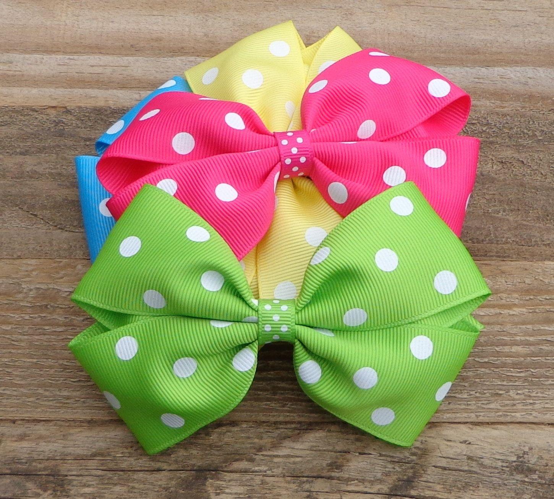 "4/"" Polka Dot Hair Bows"
