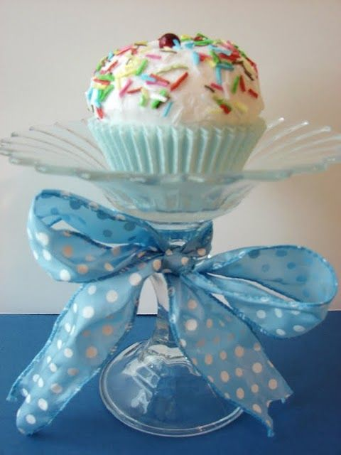 Glass Cupcake Pedestals - candlestocks and tea light holders from Dollar Tree
