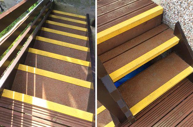 Anti Slip Stair Nosing Slippery Wooden Steps Residential Installation.
