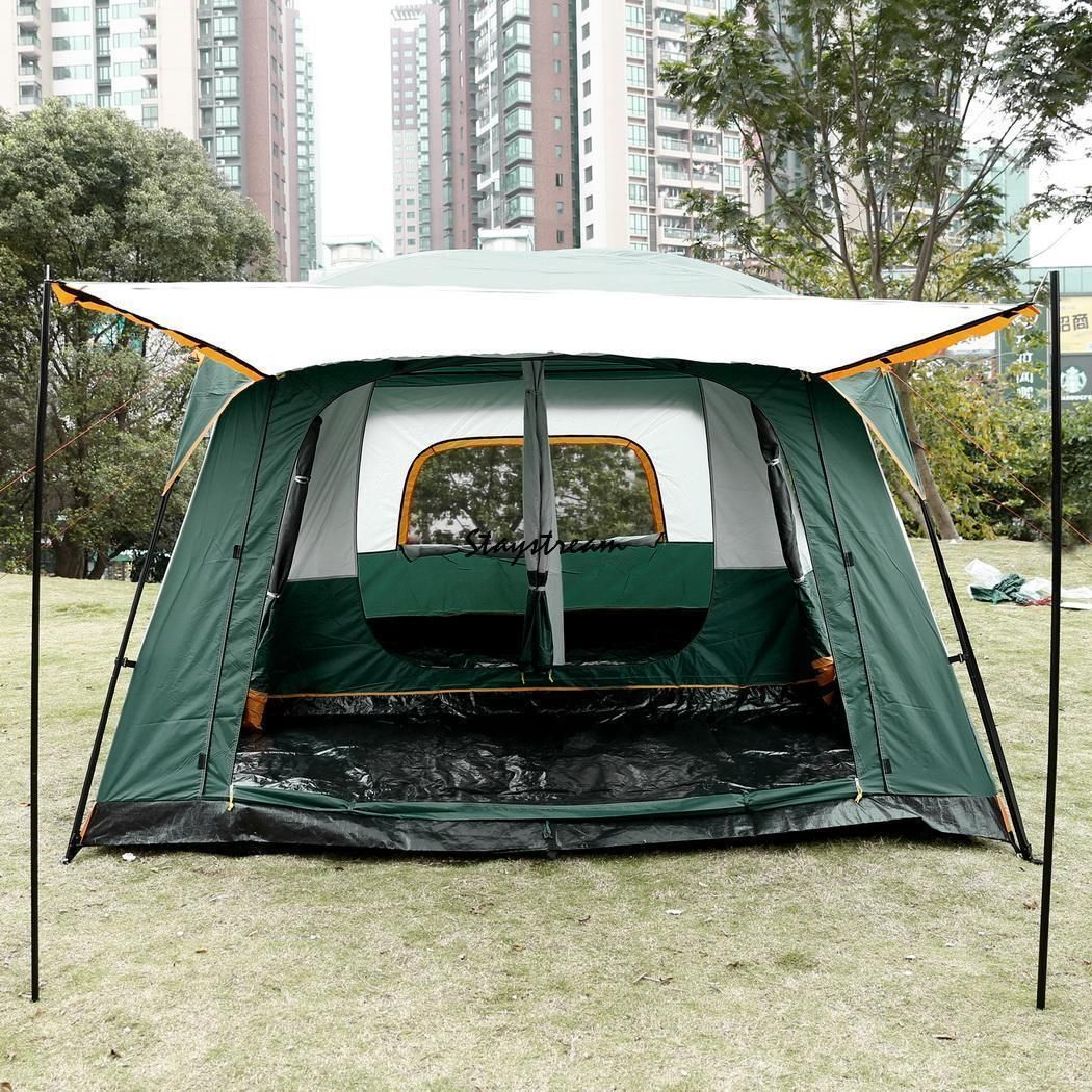 8 10 Person Instant Cabin Family Camping Tent Rainfly W 2 Bedroom 1 Living Room Campingandcampingtents Cabin Tent Outdoor Tent Hiking Tent