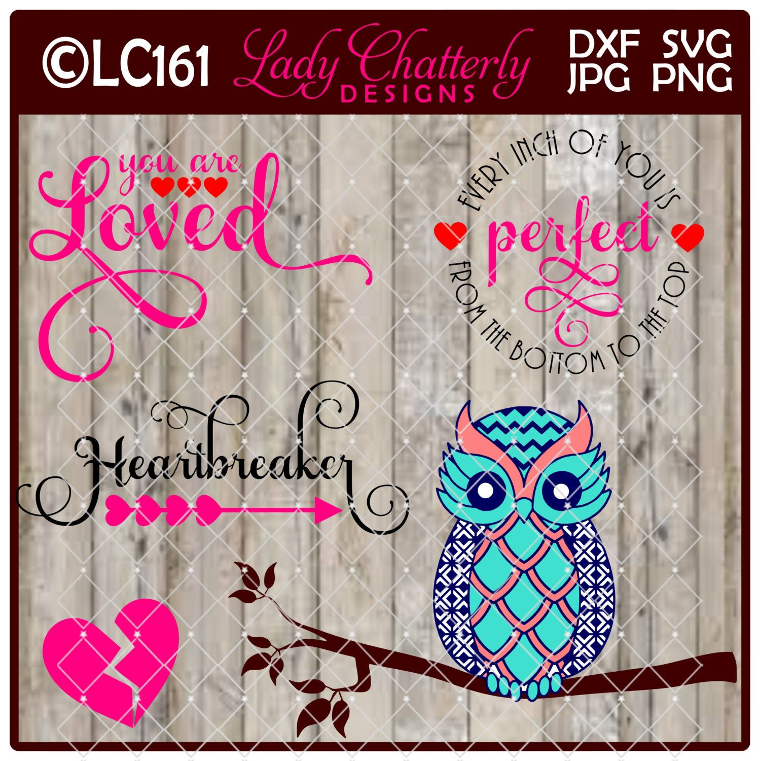 LC161 - Valentine Heartbreaker, You are Loved OWL by LadyChatterlyDesigns on Etsy