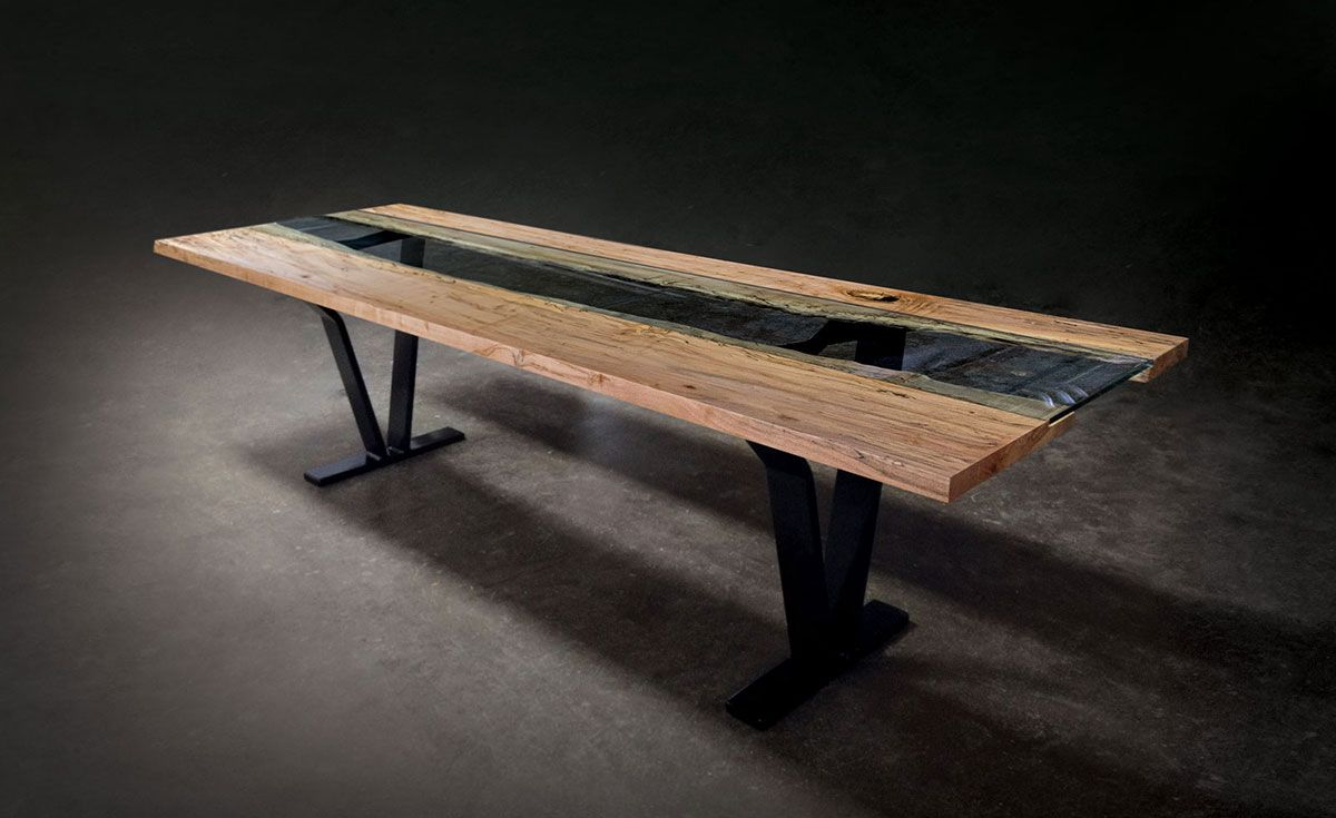 Rustic Modern Dining Table | Colorado Live Edge & Glass Dining ...