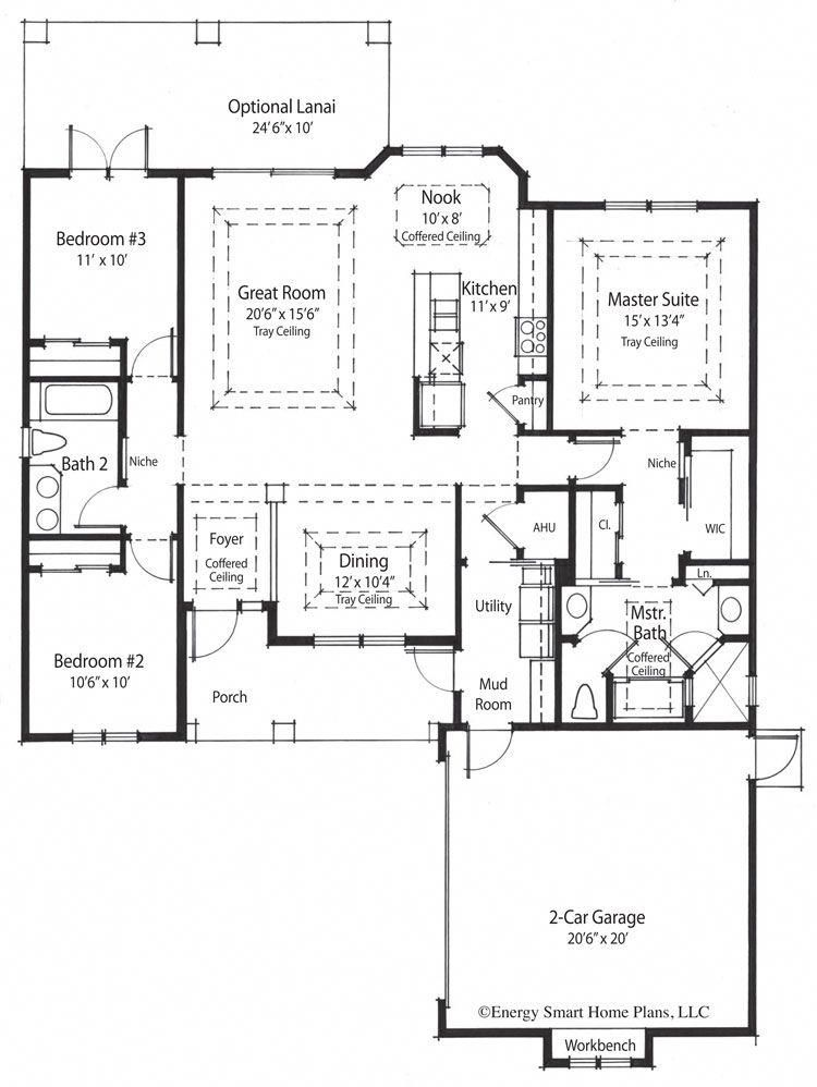 Total Living 1720 Sq Ft Bedrooms 3 Bathrooms 2 Foundation Slab Living Area And Overall Dimensions Are Calculate Smart House Plans House Plans Floor Plans