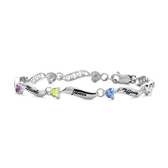 Zales Mothers 4.0mm Heart-Shaped Birthstone Cutout Swirl Link Bracelet (1-8 Stones) BeUDAfph