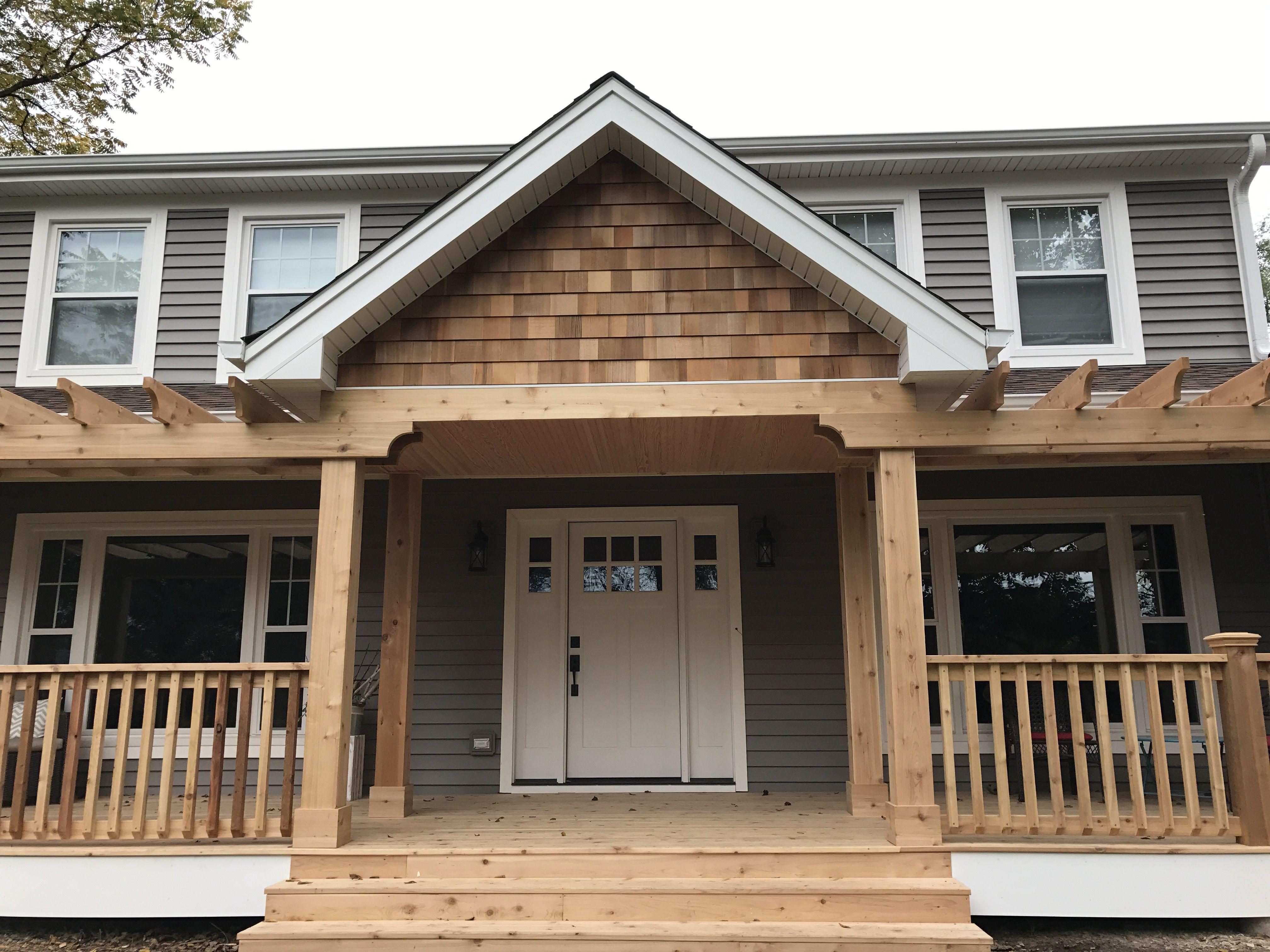 Front Porch And Pergolas Are Western Cedar As Well As Shake On Gables Cedar Homes House Exterior Cedar Siding