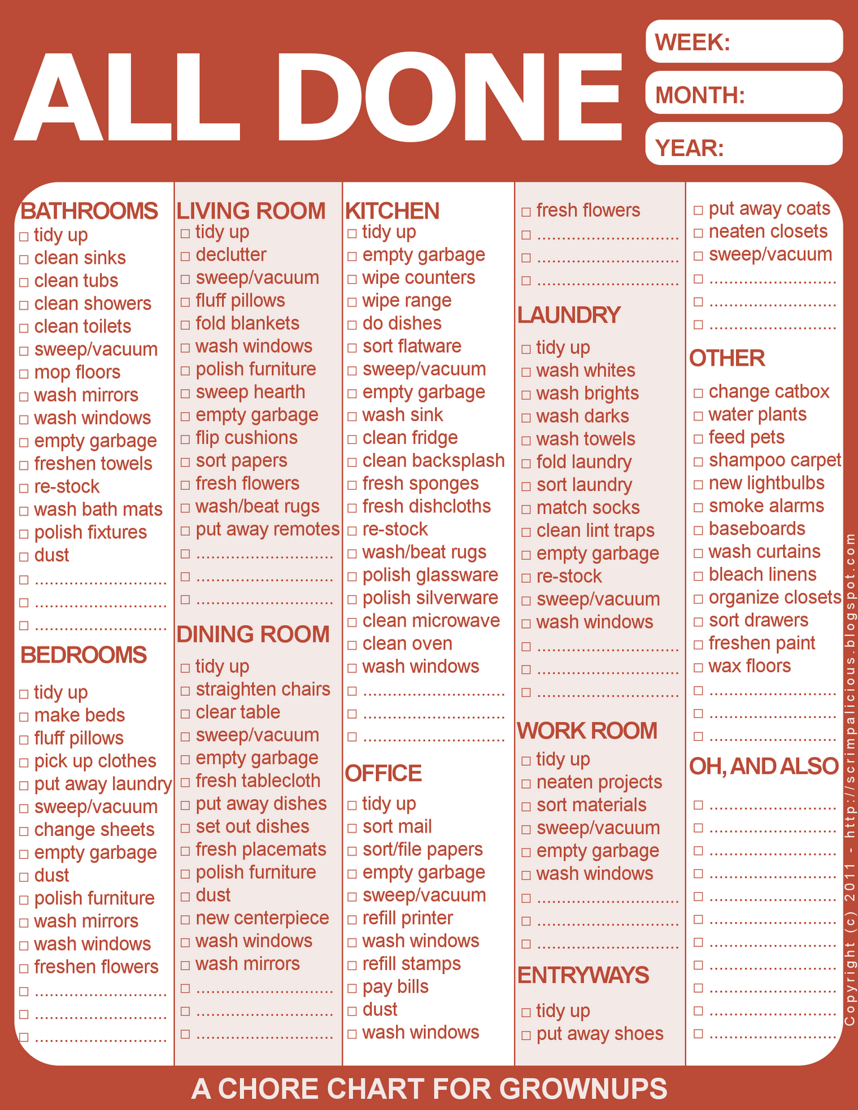free printable chore chart | clutter and cleaning solutions