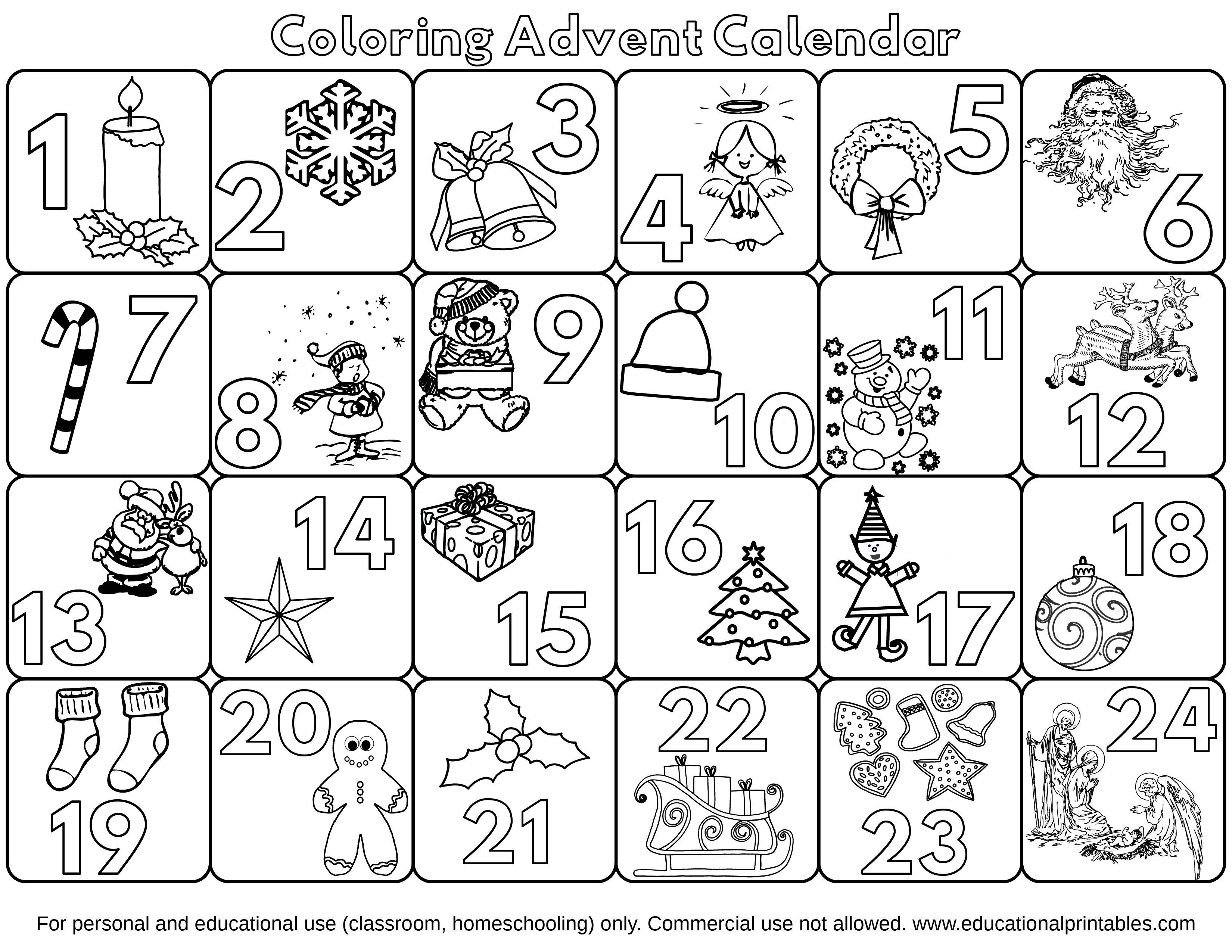 Free Coloring Advent Calendar