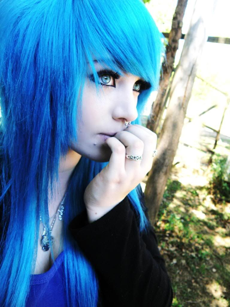 Image detail for girl with cute blue scene hair picture by