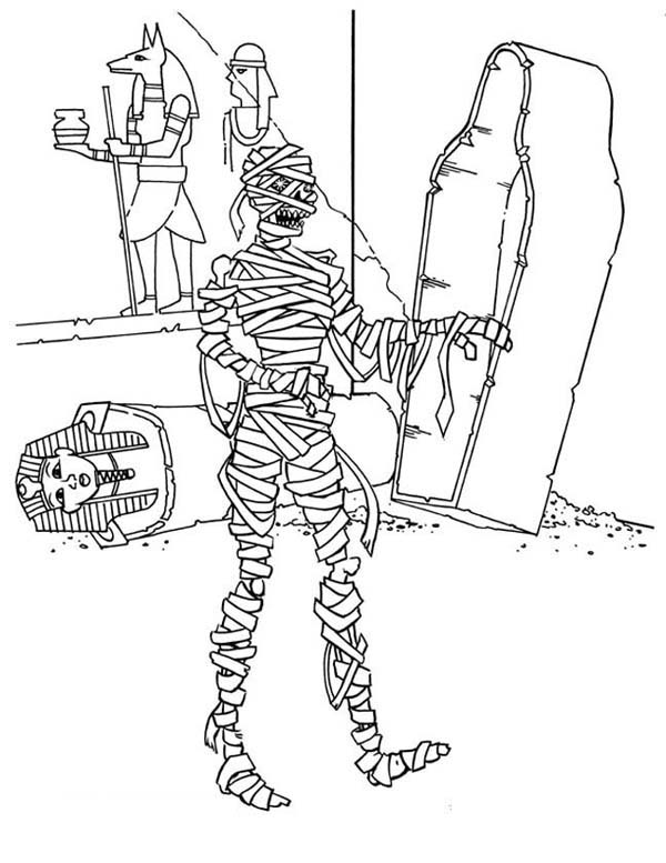 Mummy Waking From His Grave Funny Coloring Page Download Print Online Coloring Pages For Free Color Online Coloring Pages Coloring Pages Online Coloring