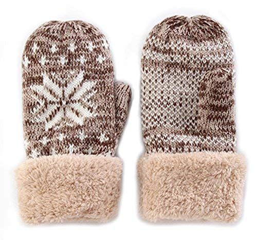 b1020bcd6 Women's Winter Knitted Mittens Gloves Inner Boa For Covering 5 Finger Thick  Knit Warmest Gloves Of Double Structure Snowflake Pattern Japan Import by  ...