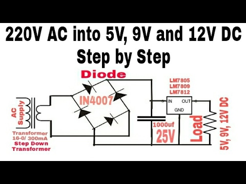 16 Convert 220v Ac Into 5v 9v And 12v Dc Supply Step To Step Hindi Youtube In 2020 Electronic Engineering Power Supply Circuit Circuit Diagram