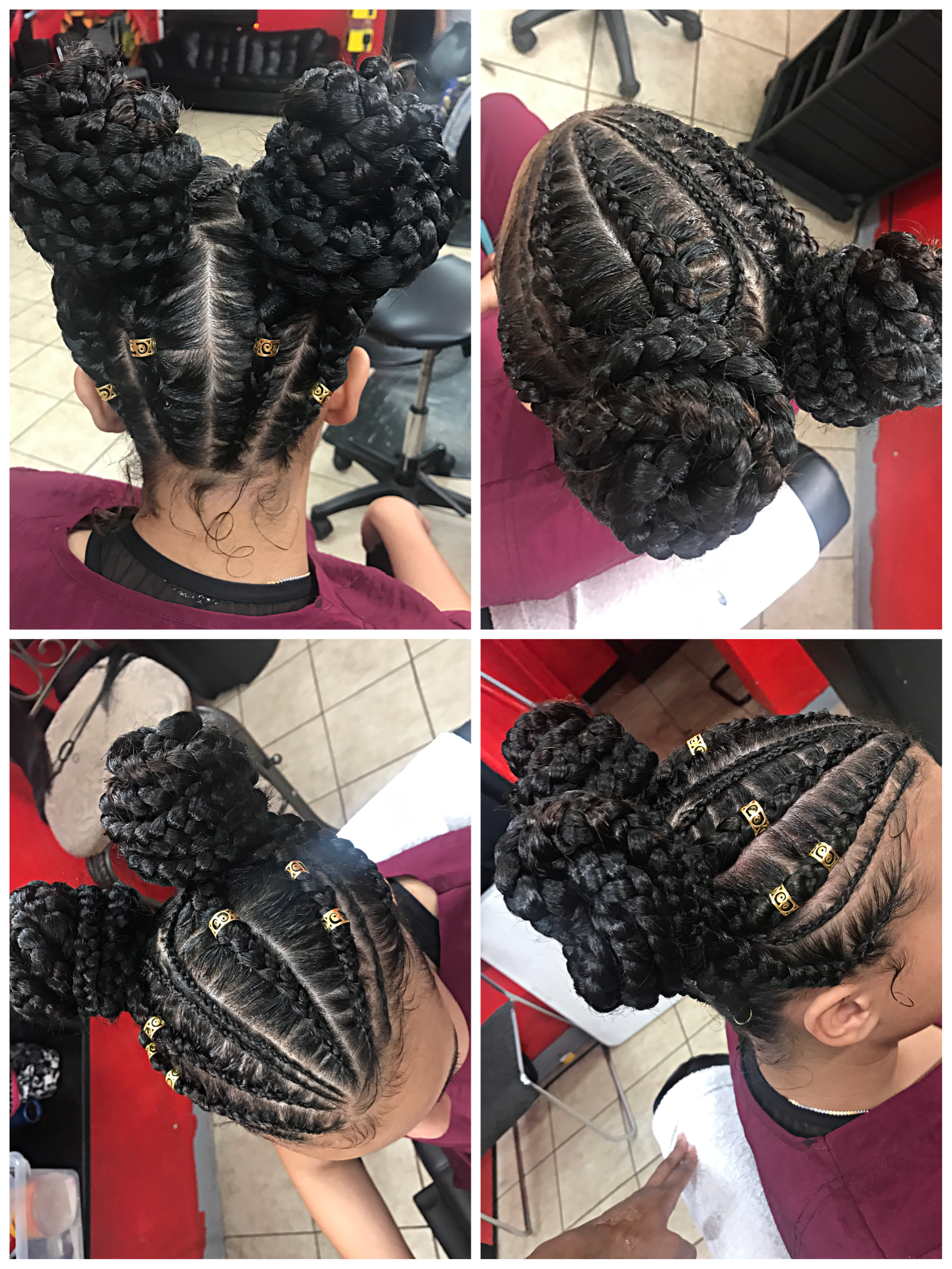 Two Buns Feed In Braids Natural Hair Styles Braids For Black Hair Hair Styles