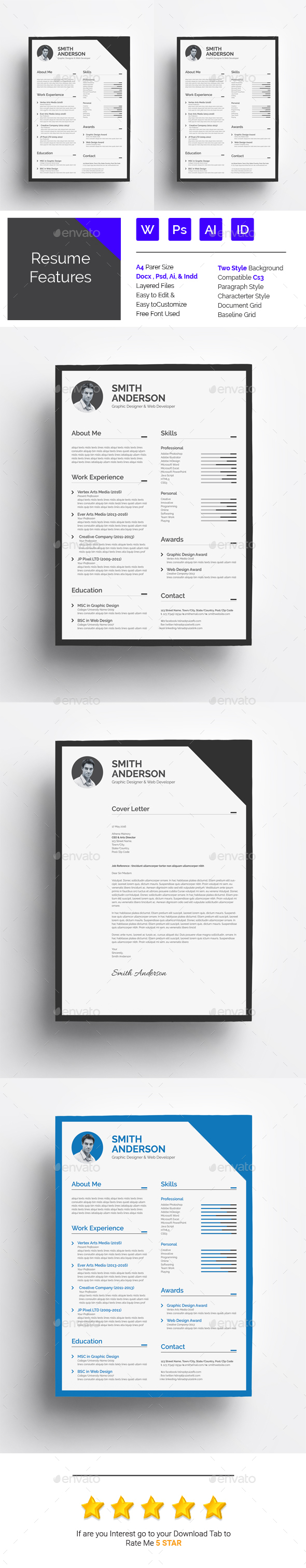 Resume Template Psd Vector Eps Indesign Indd Ms Word Download