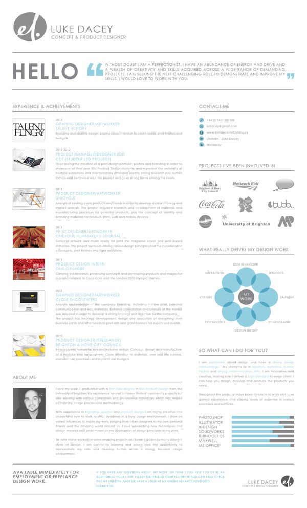 Nice clean-lined cv \/ curriculum \/ resume style! Self Promotion by - resume style