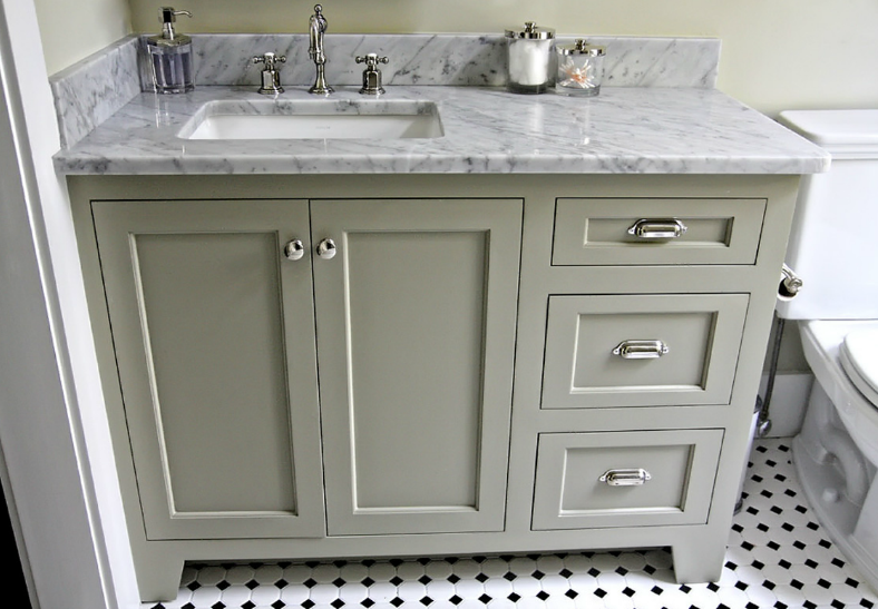 Offset Sink Makes For Better Use Of Countertop By Resident Urban Grace Interiors With Images Green Bathroom White Bathroom Cabinets Grey Bathrooms