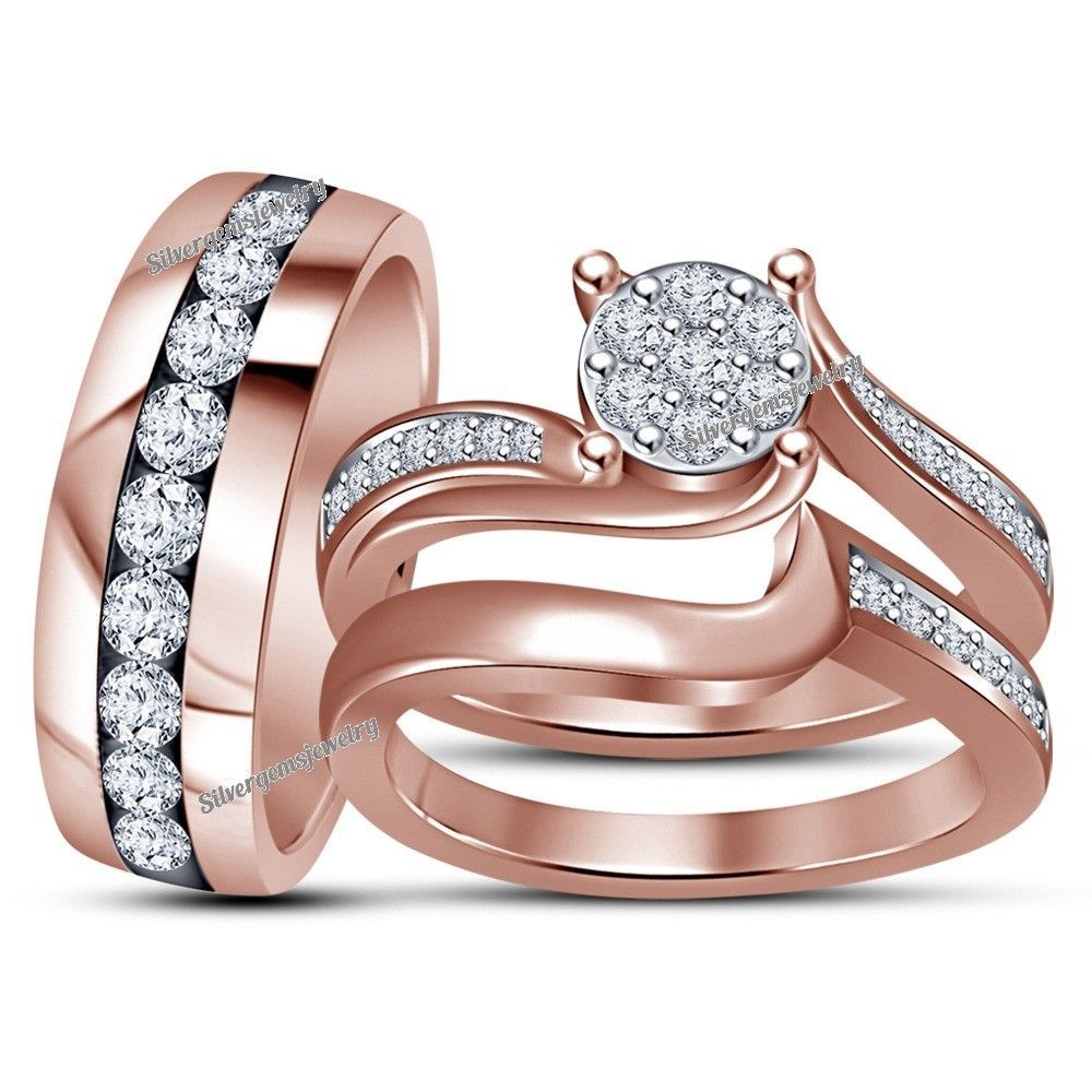 Round Lab Diamond Trio Wedding Ring His Hers Bands Engagement Set Rose Gold Over Pink Morganite Engagement Ring 14k Yellow Gold Wedding Band Wedding Ring Bands
