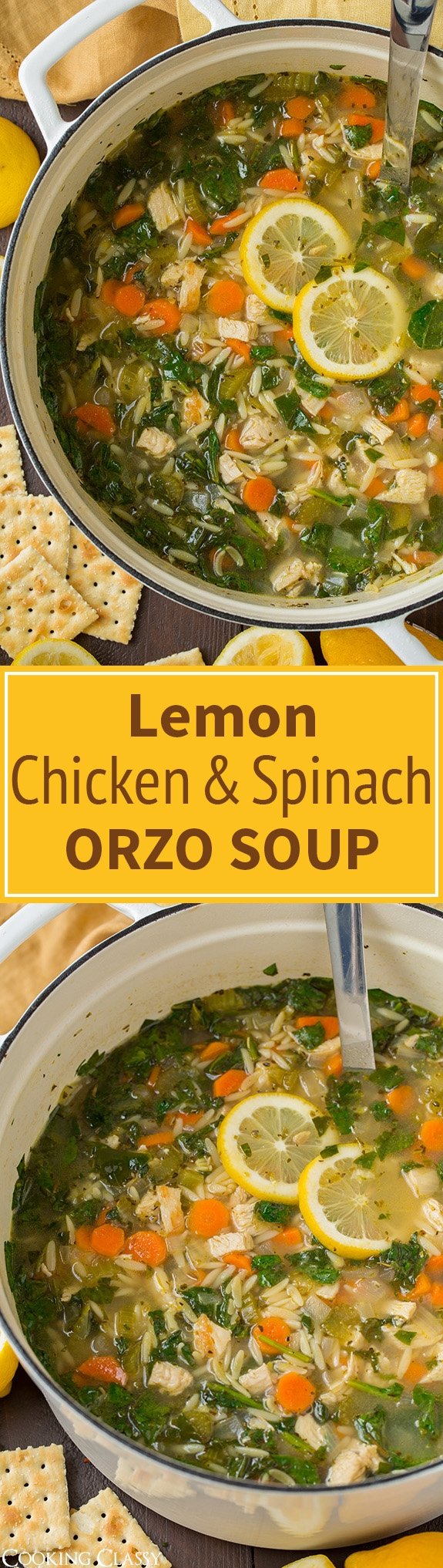 Lemon Chicken and Spinach Orzo Soup - easy, hearty one pot soup! Amazing flavor! I'll make this again and again. #weightlossrecipes