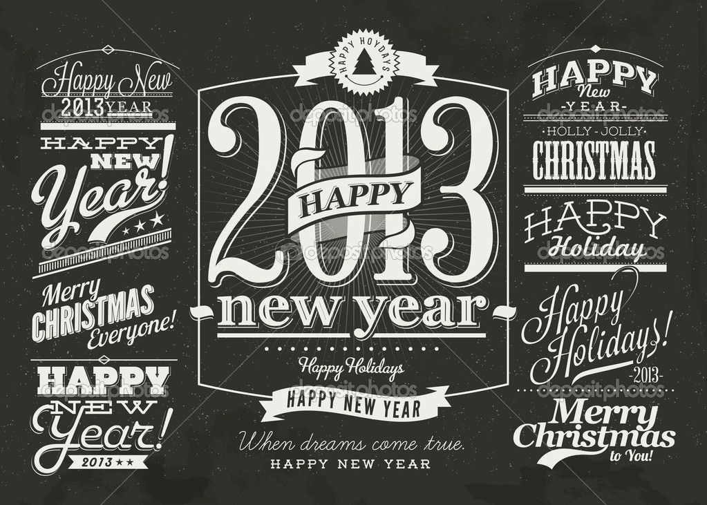 happy new year labels and merry christmas typography 52857859
