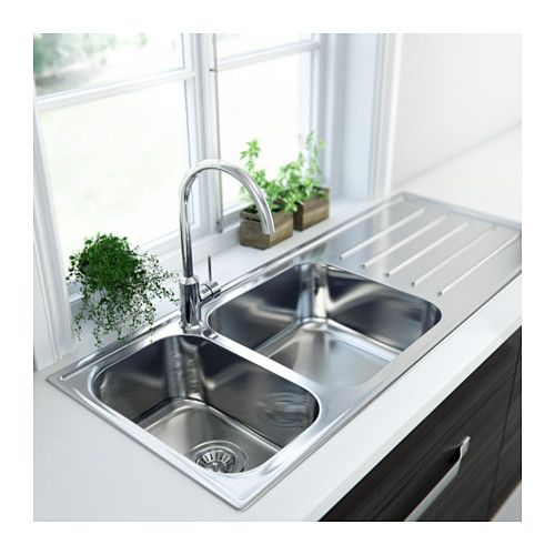 BOHOLMEN 2 Bowl Inset Sink With Drainer IKEA 25 Year Guarantee. Read About  The Terms