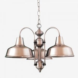 3 Shade Warehouse Chandelier - Metal & Glass Ceiling Lights | Chandeliers - Ceiling Lights | Fabby.com