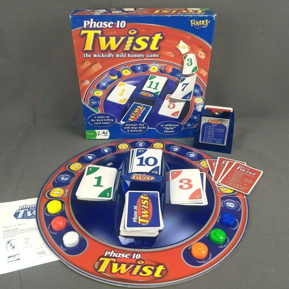 Phase 10 Twist Board Game Wild Rummy Card Game Fundex 2008