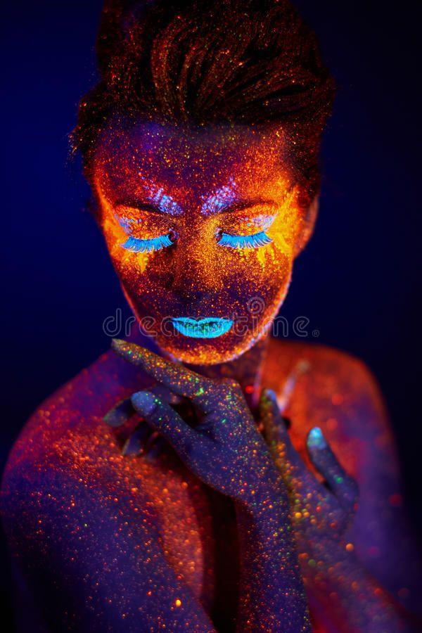 Uv Portrait Stock Photo Body Art Photography Body Art Painting Uv Makeup