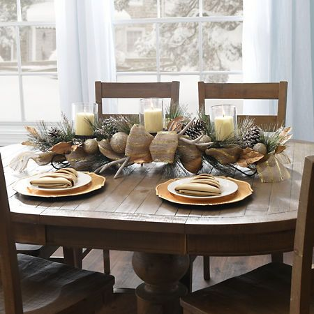Burlap Deer Antler Centerpiece Kirklands Christmas Dining Table Decor Christmas Dining Table Antler Christmas Decor