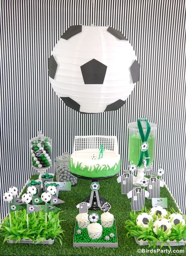 Soccer Football Birthday Party Desserts Table Printables Football Birthday Party Soccer Birthday Parties Soccer Theme Parties