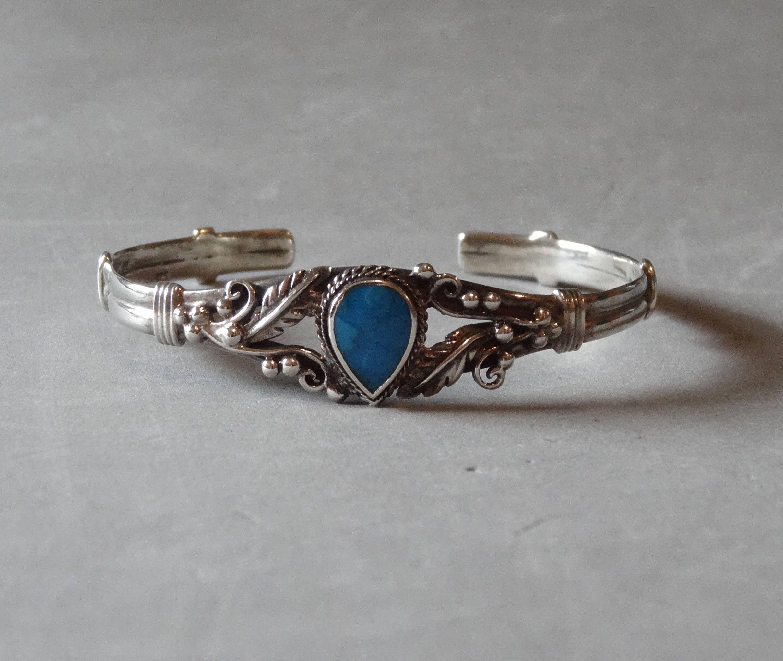 Vintage Sterling Silver Turquoise Cuff Bracelet Native American Indian Southwest Leaf Design Marked: Native American Wedding Ring Designs At Websimilar.org