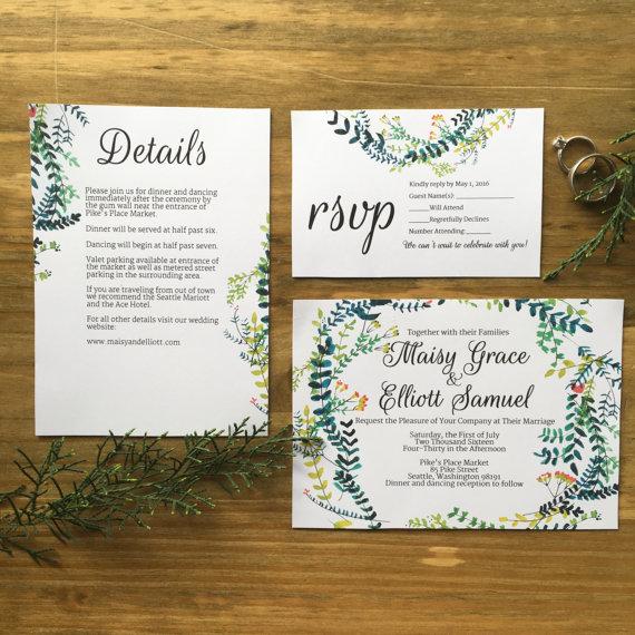 Custom Wedding Invitation, Wanderlust Suite, DIY, Type in Template - invitation template nature