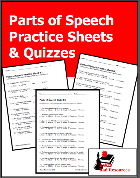 Parts Of Speech Practice Sheets & Quizzes From Raki's Rad Resources -  Classroom Freebies Parts Of Speech Practice, Parts Of Speech, Parts Of Speech  Worksheets