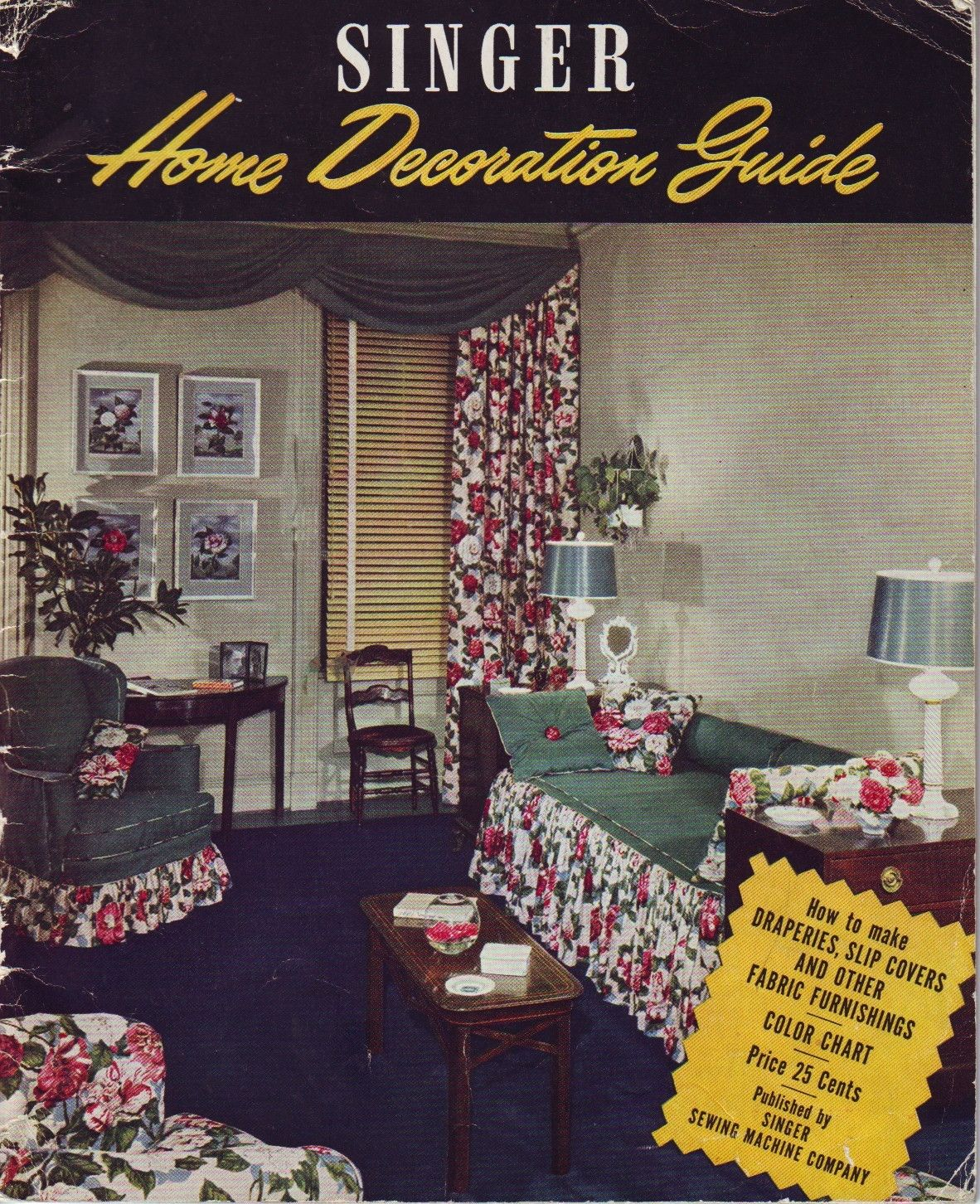 vintage 40s home decor magazine, singer home decoration guide ...